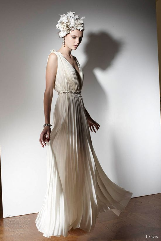 lanvin bridal spring 2013 wedding dress sleeveless pleated