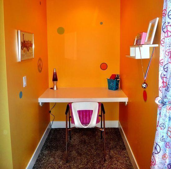 Widhalm Custom Homes Omaha Woodland Model prairie modern mid century modern contemporary Omaha Bennington Nebraska bedroom girl teenager pre-teen orange polka dots peace sign cool room built in
