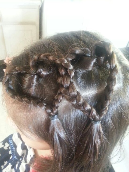 Double braided heart - little girl hairstyle