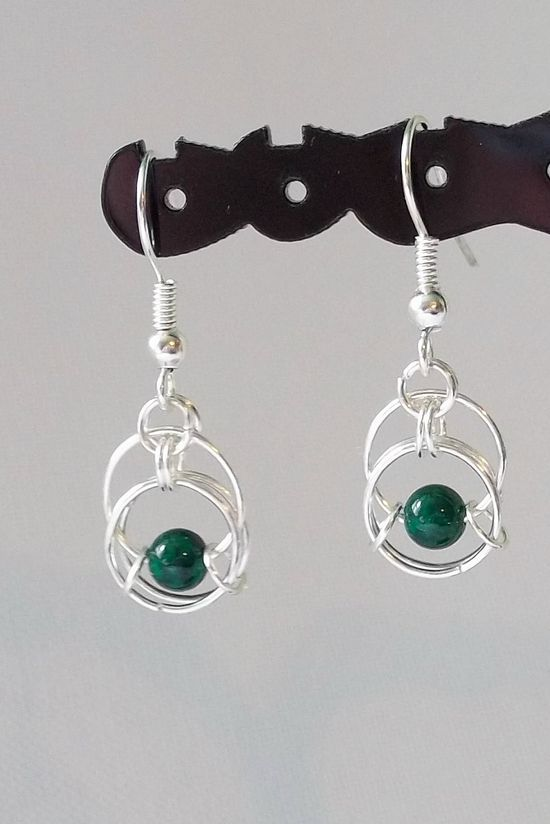 Almost Centipede Chainmaille Earrings Silver