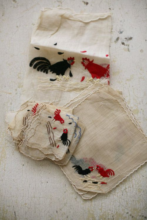 chicken embroidered linens