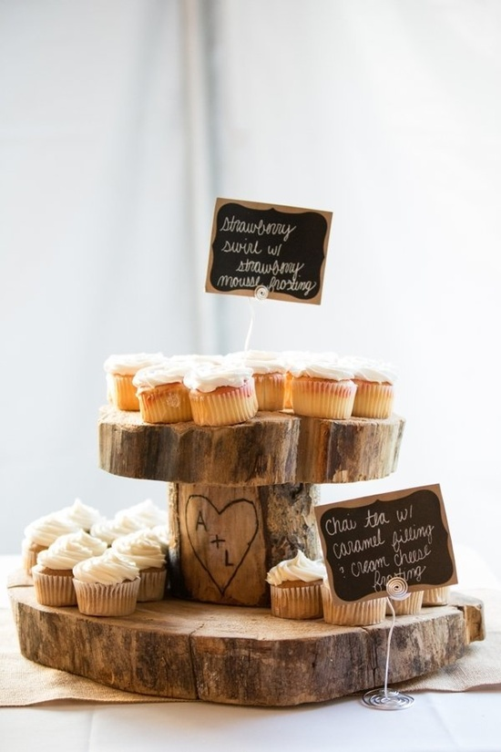 rustic cupcake display by www.fantasiesinfr...  Photography By / autumnwilson.com
