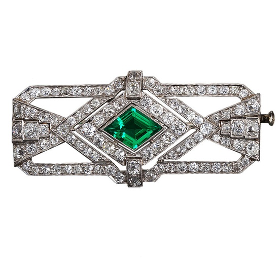 Art Deco Diamond and Colombian Emerald Brooch