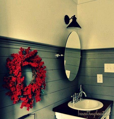 Bathroom decor, wall paneling, lighting, & vanity