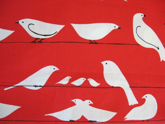 Vintage 70s RED BIRD on A WIRE Art Wall Hanging Fabric Material. $165.00, via Etsy.