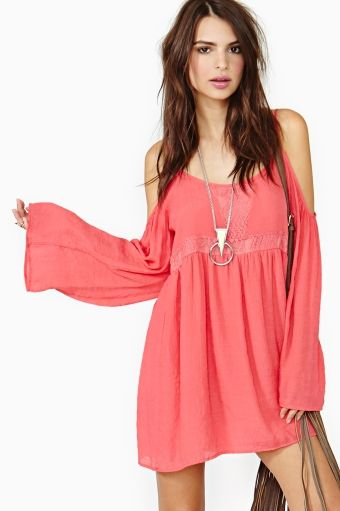 Cute coral bohemian dress - Nasty Gal - New & Vintage Clothing