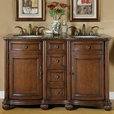 "52"" Bathroom Furniture Baltic Brown Granite Top Double Sink Vanity Cabinet 180BB by HF Gallery. $1280.00. Countertop: Baltic Brown Granite Top. Sink Type: Undermount Ivory Ceramic Sink. Item Dimensions: 52""W x 22""D x 36""H. Pre-drilled Faucet Hole: 8-inch widespread, 3 holes (1-1/8"") - Faucet Sold Separately. Storage: 2 Door(s) and 4 Drawer(s). Elegent double sink vanity with delightful curving and raised panels, and accentuated legs. Large cabinet space good for all your stor..."