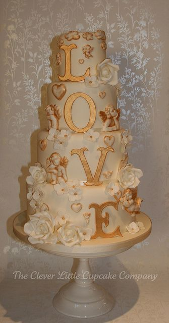 Gold Love Wedding Cake