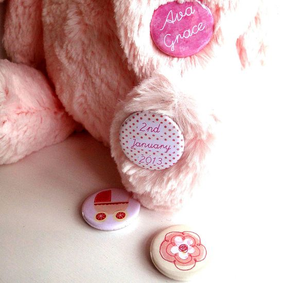 New Baby Girl Personalised Badges