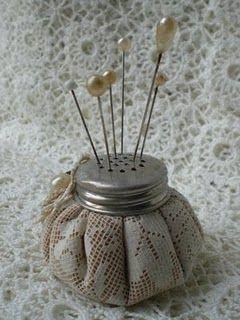 pin cushion using lid of old salt jar