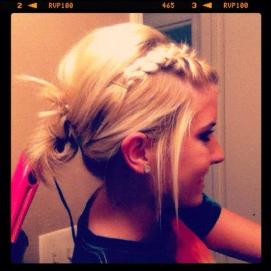 braided bangs messy updo