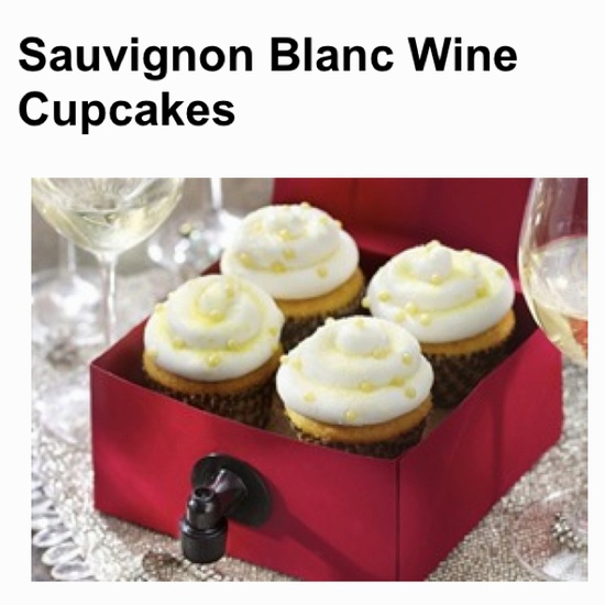 As if wine couldn't get better! Recipe at tablespoon.com along with a zinfandel wine, rose' wine, and champagne cupcake.