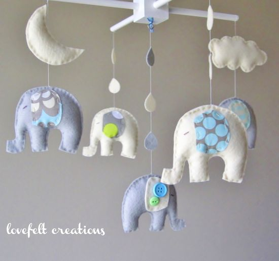 Baby mobile - Baby crib Mobile - Elephant Mobile - Nursery Mobile - Baby boy Mobile - You can PICK ur COLORS and FABRIC :). $130.00, via Etsy.