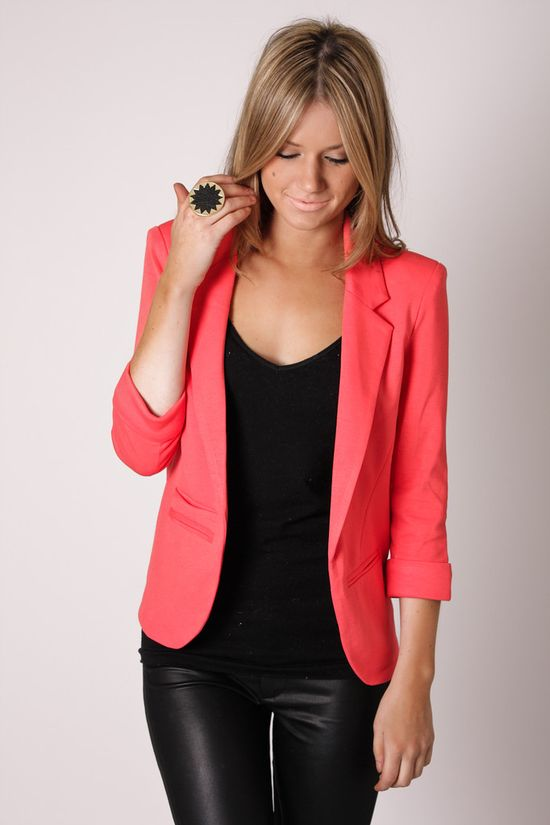 coral blazer + black  Need a blazer like this!