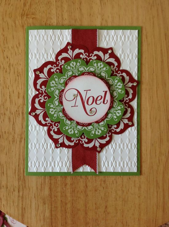Stampin Up handmade Christmas card  NOEL wreath by treehouse05, $4.50