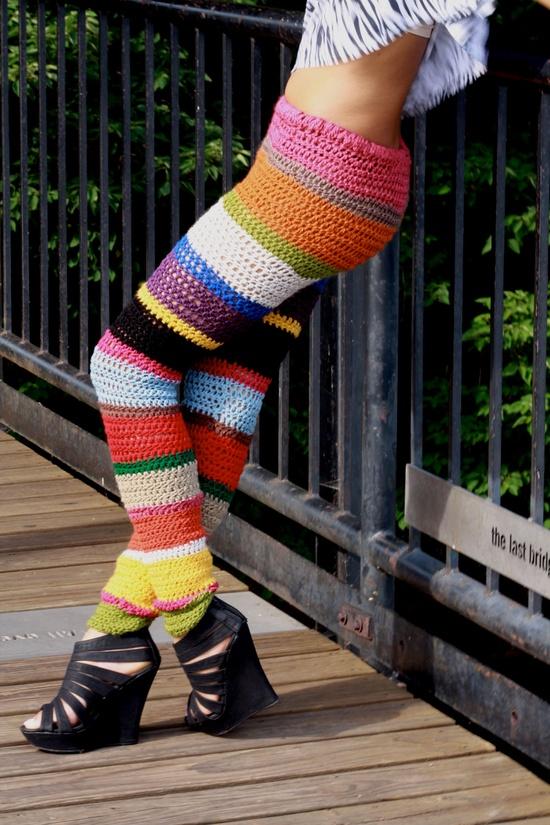 Colorful crochet leggings MADE TO ORDER. $195.00, via Etsy.