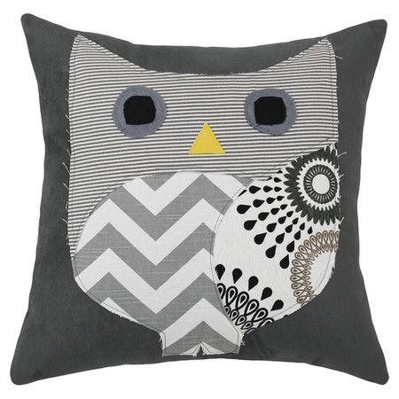 Cute Owl Applique Pillow! #owl #grey #home #chevron