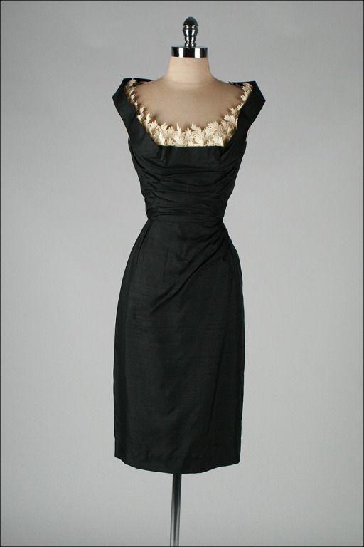 ~Vintage 1950's Silk Shelf Bust Wiggle Dress~