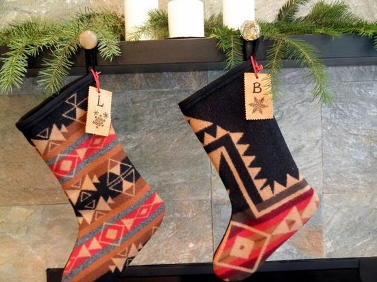 Pendleton wool Christmas stockings SET OF 2 Native American tribal pattern red, black, taupe, personalized BY UrbanCamp @Etsy: Quality Pendleton wool Christmas stocking will last a lifetime and be a wonderful keepsake or gift. The Navajo trend in home decor is a great addition to your Christmas decor this year. This is the Cross Roads pattern a current 2011 Pendleton offering. (Sold 29 Sep 2011)
