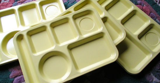 Yellow School Lunch Trays from the 60's & 70s   Just like we had in grade school!  (BTW I have a set of these in pastel colors and love them!)