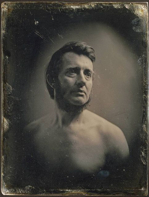 There is a nearly shocking moment, as you look at this photo, when it hits you that it's not modern  (by any stretch of the imagination), it is of (photographer) Albert Sands Southworth and was taken in 1848. A time when the last thing most people (today) would imagine a prim and proper Victorian gentleman doing would be to pose for a topless self-portrait. Simply wonderful!