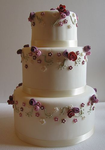 Pink & Mauve Wedding Cake by The Couture Cakery, via Flickr