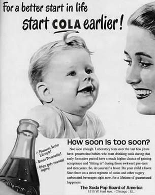 Hawking cola to parents of young children.  Wow.