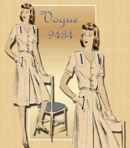 1940s Dress Pattern Vintage Vogue 9434 One Piece Tailored Day Dress