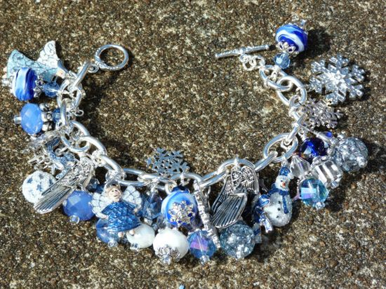 BLUE CHRISTMAS ooak silver Christmas Charm by CoquettishlyAdorned, $64.00