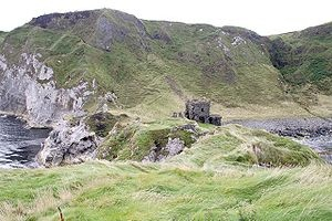 "Kinbane Castle - that is the ""hill"" you have to walk down to get there!!"