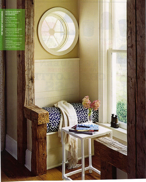 Nook.  Love the rustic timber with the blue pattern on the seat cushion.