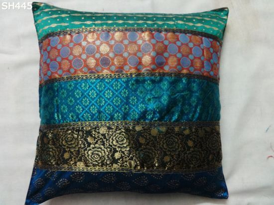 40 cm Patch work decorative brocade / block print pillow case cushion cover 16 inches square  with different