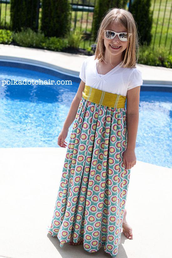 Girls summer maxi dress tutorial