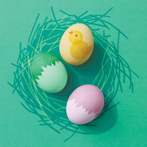 "How to make ""Cracked"" Eggshells and Chick-embellished Easter Eggs"