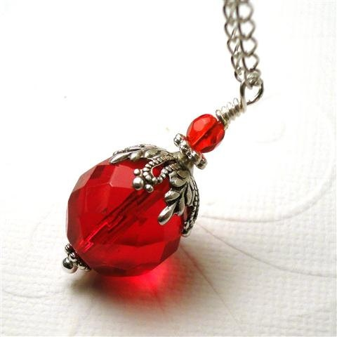 Christmas Necklace, Red Christmas Ornament Necklace, Holiday Necklace, Czech Glass Necklace, Christmas Jewelry - Christmas Charm. $29.00, via Etsy. www.etsy.com/...