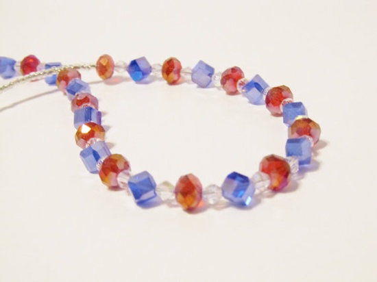 #Patriotic Red, White and Blue Crystal #Necklace by #RomanticThoughts, $30.00 #Jewelry