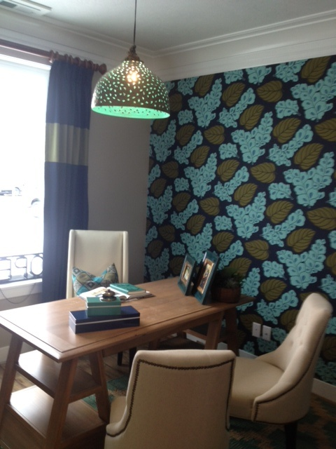 eclectic. home office. modern. office. den. study. teal. blue. aqua. Office by Rachael Reskey