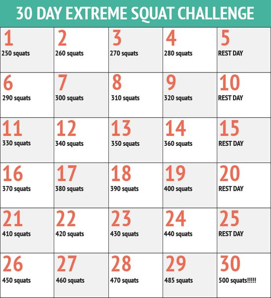 30 Day Extreme Squat Challenge - 30 Day Fitness Challenges
