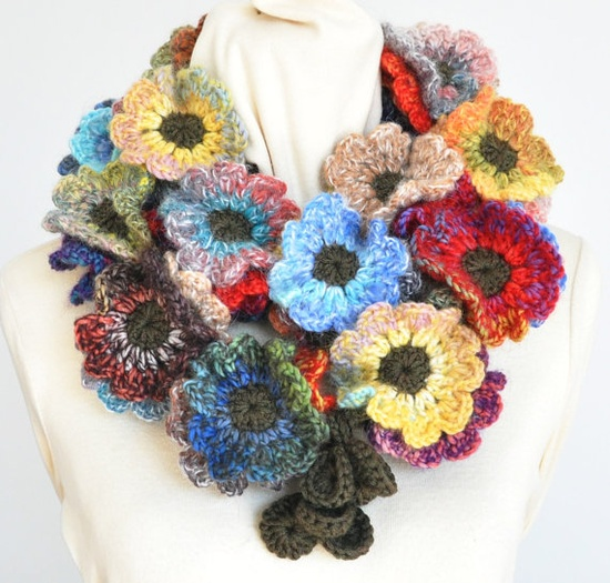 Floral Fall  Contrast  Crochet Multicolor Flowers by jennysunny, $39.00