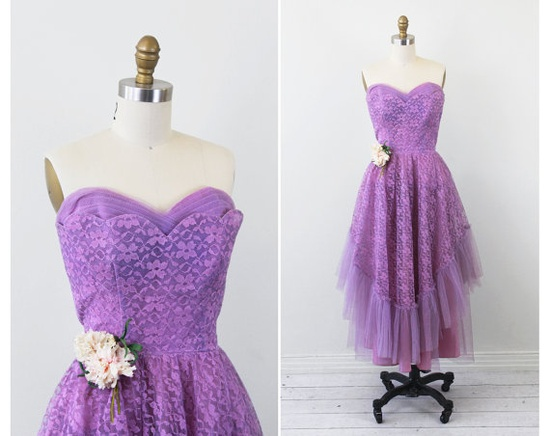 vintage 1950s dress / Purple and Lavender Lace and Tulle Cupcake Dress with Flower Corsage