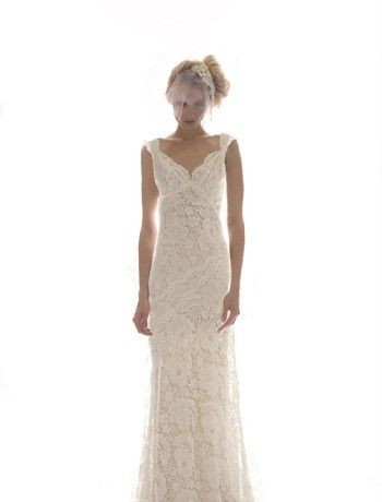 Elizabeth Fillmore - Tip of the Shoulder Sheath Gown in Lace