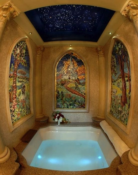 Cinderella Suite at Disney World, this is the custom-made 4 x 4, multi-jet Jacuzzi with waterfall faucet and chromatherapy lighting. Love the star lights!