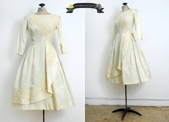 The Wedding Waltz Dress vintage 1950s silk satin gown $598