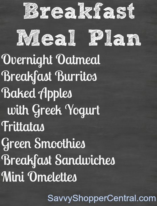Healthy Breakfast meal plan