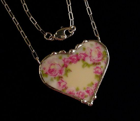 Broken china jewelry heart necklace by Dishfunctional Designs. Made from a broken plate. antique French rose  porcelain