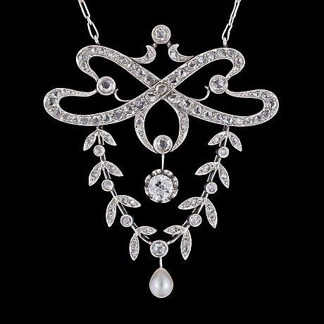 Art Nouveau diamond pendant