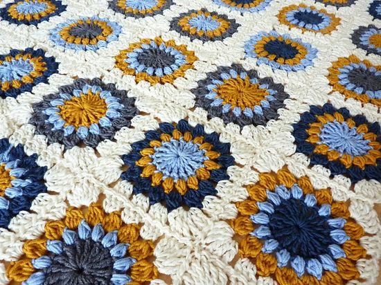 granny square blanket  NICE COLORS.