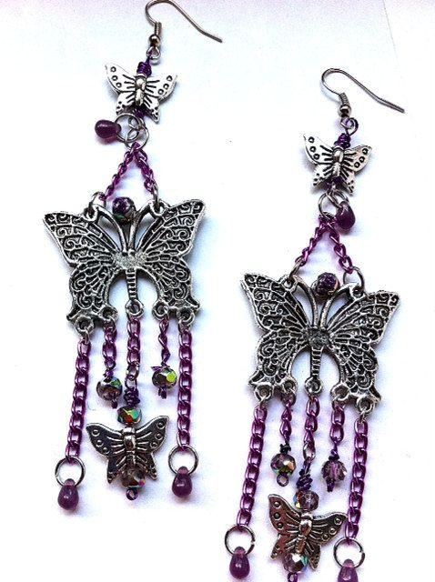 Long butterfly dangle earrings with purple chains by BeadingByJenn, $15.00 #jewelry #earrings #butterfly #purple #cute #fashion