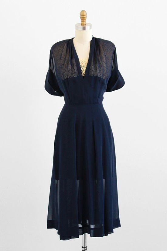 1940s dress / 40s dress / Sheer Navy Blue Swing Dress with Lace Neckline