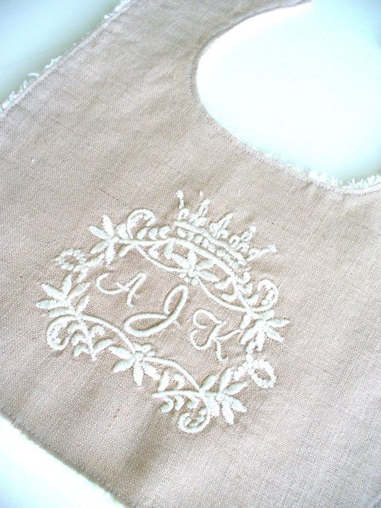 LOVE! Baby BibLINEN CollectionCrown Monogram by lepetitbebeboutique